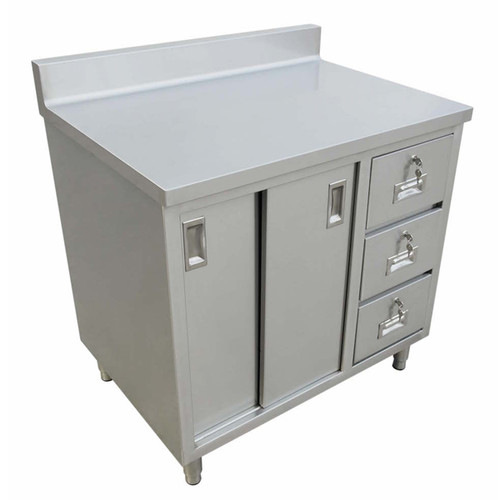 """Omcan - 24"""" X 48"""" Worktable With Cabinet, Drawers, And Sliding Doors - 43483"""
