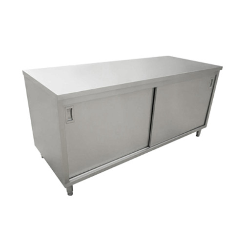 """Omcan - 30"""" X 60"""" Stainless Steel Worktable With Cabinets And Sliding Doors - 44193"""