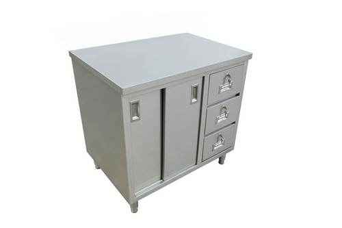 """Omcan - 30"""" X 48"""" Stainless Steel Worktable With Cabinets And Drawers - 44195"""