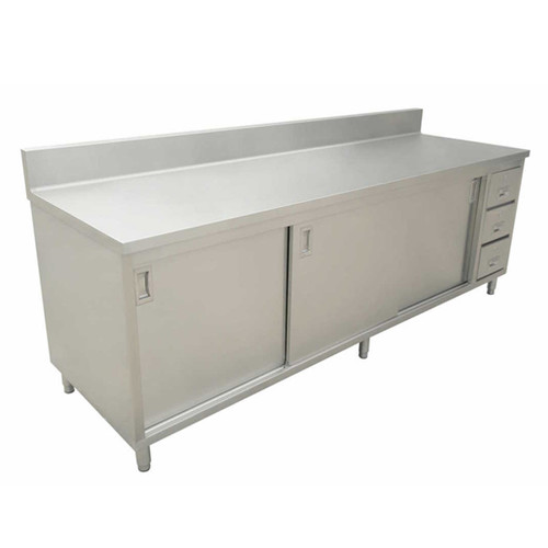 """Omcan - 24"""" X 60"""" Worktable With Cabinet, Drawers, And Sliding Doors - 43484"""
