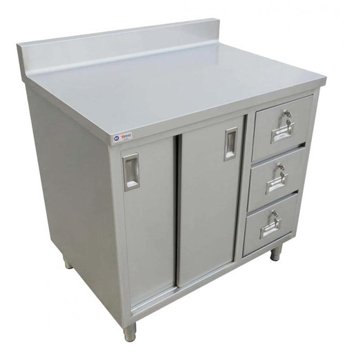 """Omcan - 30"""" X 48"""" Worktable With Cabinet, Drawers, And Sliding Doors - 45284"""