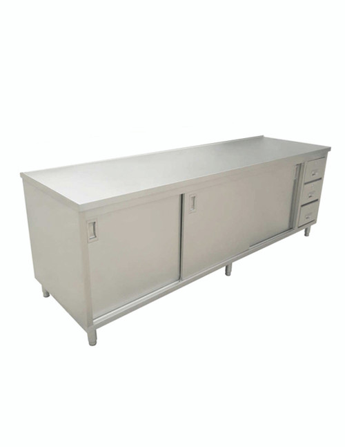 """Omcan - 30"""" X 60"""" Stainless Steel Worktable With Cabinets And Drawers - 44196"""