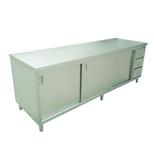 """Omcan - 30"""" X 72"""" Stainless Steel Worktable With Cabinets And Drawers - 44197"""