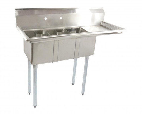 """Omcan - 10"""" X 14"""" X 10"""" Stainless Steel Space Saver Sink With 16"""" Right Drain Board With Corner Drain - 39763"""