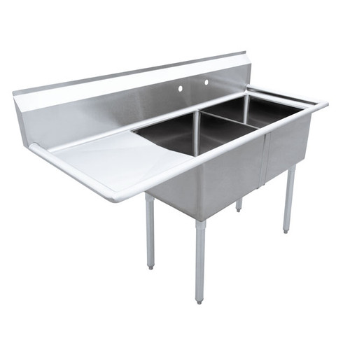 """Omcan - 18"""" X 18"""" X 11"""" Two Tub Sink With 3.5"""" Center Drain And Left Drain Board - 43768"""