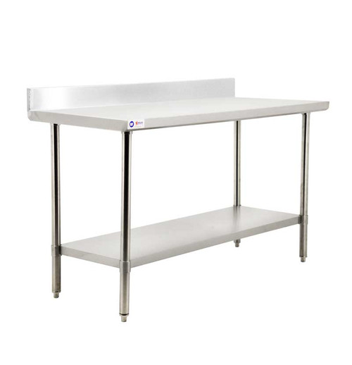 """Omcan - 24"""" X 84"""" All Stainless Steel Work Table With Backsplash - 44341"""