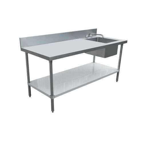 """Omcan - 30"""" X 72"""" Stainless Steel Table With Right Sink And 6"""" Backsplash - 43244"""