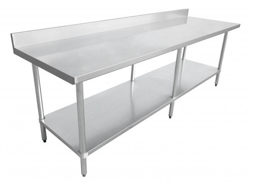 """Omcan - 24"""" X 84"""" Stainless Steel Work Table With 4"""" Backsplash - 22084"""