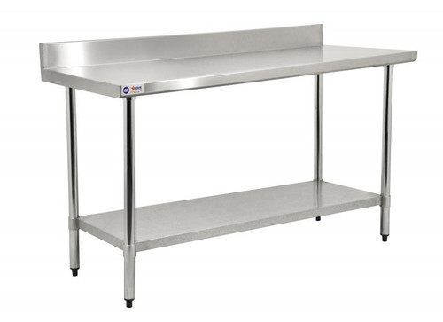 """Omcan - 24"""" X 60"""" Stainless Steel Work Table With 4"""" Backsplash - 22082"""