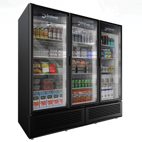 "Omcan - 79"" Three Glass Door Swing Refrigeration With 71 Cu. Ft. Capacity - 41220"