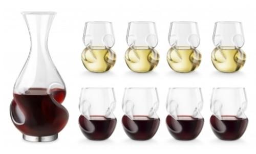 Final Touch - L'Grand Conundrum Decanter Set w/ 4 Red & 4 White Glasses - WDA60