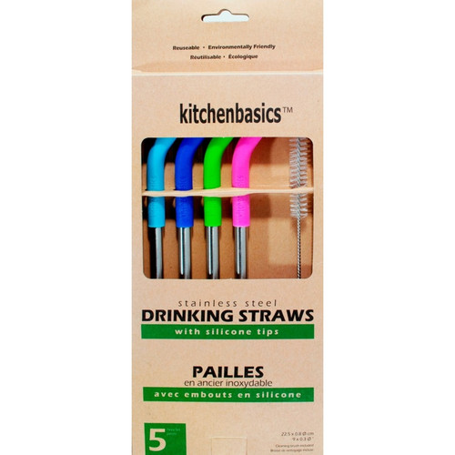 """Kitchen Basics - 7.5"""" Stainless Steel Straw With Silicone Tip - KBG17281"""