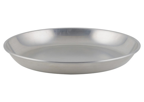 """Winco - 12"""" Round Brushed Aluminum  Seafood Serving Tray"""