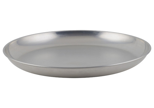 """Winco - 14"""" Round Brushed Aluminum Seafood Serving Tray - ASFT14"""