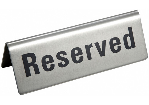 Winco - Stainless Steel Reserved Sign - RVS4