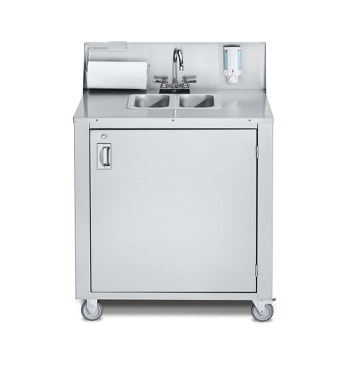 Crown Verity - Stainless Steel Two Compartment Cold & Hot Water Portable Sink - CV-PHS-2