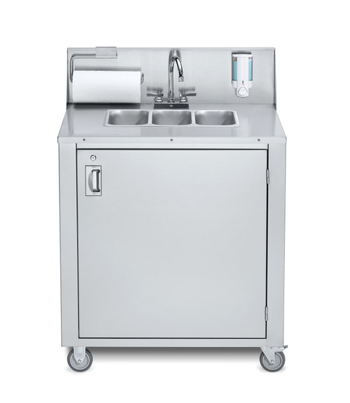 Crown Verity - Stainless Steel Three Compartment Cold & Hot Water Portable Sink - CV-PHS-3
