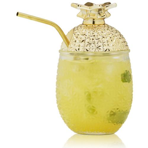 Brilliant - 450 Ml Pineapple Cocktail Drinking Glasses & Straws (Set of 2)