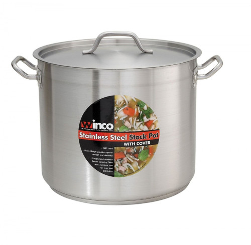 Winco - 44QT (40L) Stainless Steel Stock Pot w/ Lid - SST32