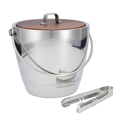 Crafthouse - Stainless Steel Round Ice Bucket With Tongs