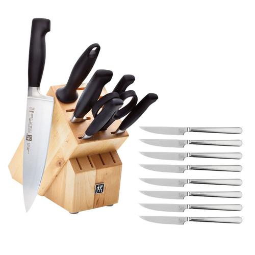 Zwilling - Four Star 8 Pc Knives Block Set With Bonus Steak Knives