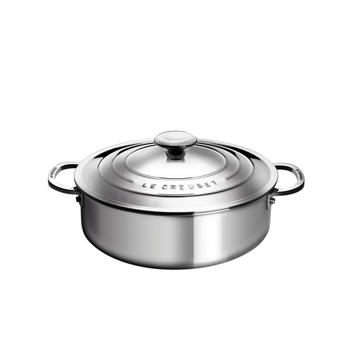 Le Creuset - 4.3 L (4.5 QT) Stainless Steel Rondeau with Lid