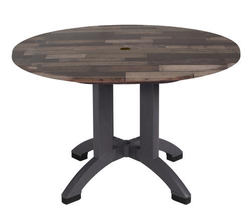 "Grosfillex - Atlanta 42"" Shiplap Round Outdoor Table"