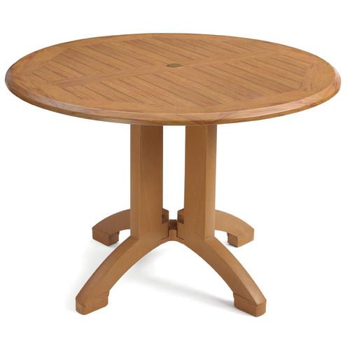 "Grosfillex - Atlanta 42"" Teakwood Round Outdoor Table"