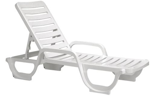 Grosfillex - Bahia White Stacking Chaise Lounge