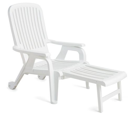 Grosfillex - Bahia White Stacking Deck Chair