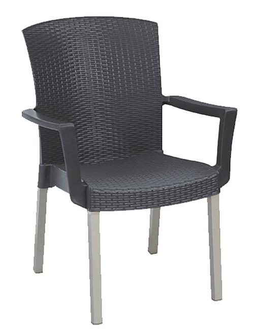 Grosfillex - Havana Charcoal Stacking Armchair
