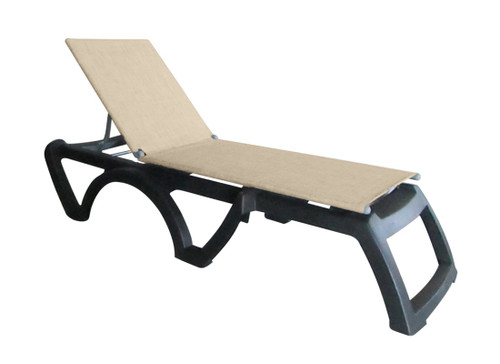 Grosfillex - Jamaica Beach Straw With Charcoal Frame Stacking Chaise Lounge
