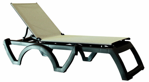 Grosfillex - Jamaica Beach Gray Tweed With Charcoal Frame Stacking Chaise Lounge