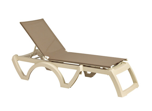 Grosfillex - Jamaica Beach Taupe With Sandstone Frame Stacking Chaise Lounge