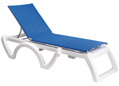 Grosfillex - Jamaica Beach Blue With White Frame Stacking Chaise Lounge