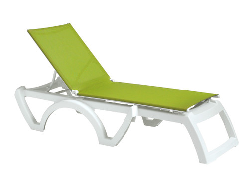 Grosfillex - Jamaica Beach Fern Green With White Frame Stacking Chaise Lounge