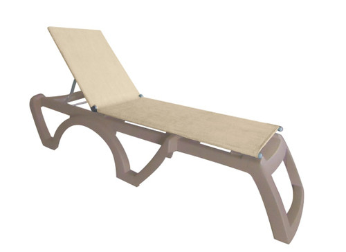 Grosfillex - Jamaica Beach French Taupe With White Frame  Stacking Chaise Lounge