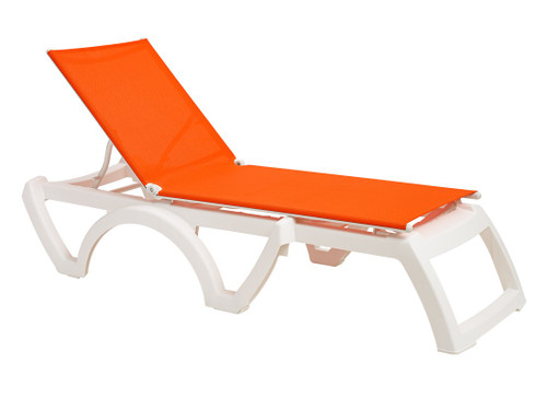 Grosfillex - Jamaica Beach Orange With White Frame Stacking Chaise Lounge