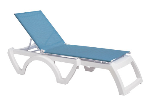 Grosfillex - Jamaica Beach Sky Blue With White Frame Stacking Chaise Lounge