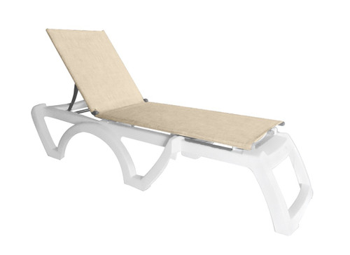 Grosfillex - Jamaica Beach Straw With White Frame Stacking Chaise Lounge