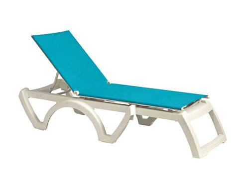 Grosfillex - Jamaica Beach Turquoise With White Frame  Stacking Chaise Lounge