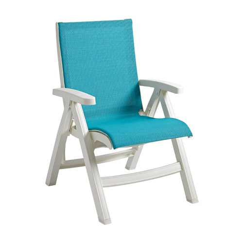 Grosfillex - Jamaica Beach Turquoise With White Frame Folding Chair