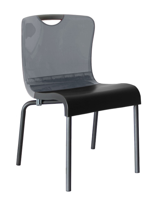 Grosfillex - Krystal Stacking Smoke Back/Charcoal Stacking Side Chair