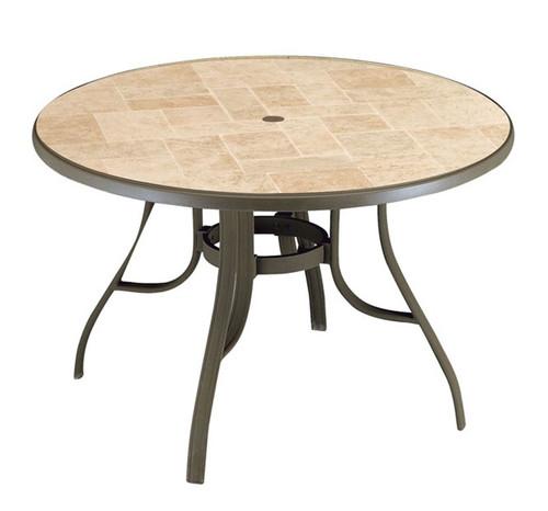 "Grosfillex - Louisiana 48"" Bronze Mist Outdoor Pedestal Table"