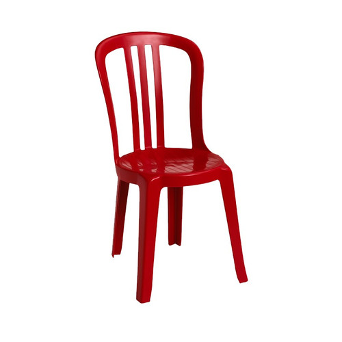 Grosfillex - Miami Bistro Red Stacking Side Chair
