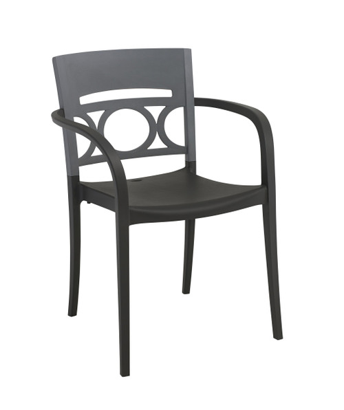 Grosfillex - Moon Titanium Gray/Charcoal Stacking Armchair
