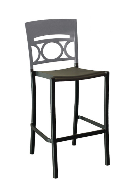 Grosfillex - Moon Titanium Gray/Charcoal Stacking Barstool