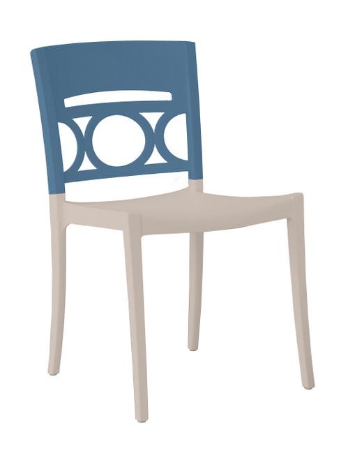 Grosfillex - Moon Denim Blue /Linen Stacking Side Chair