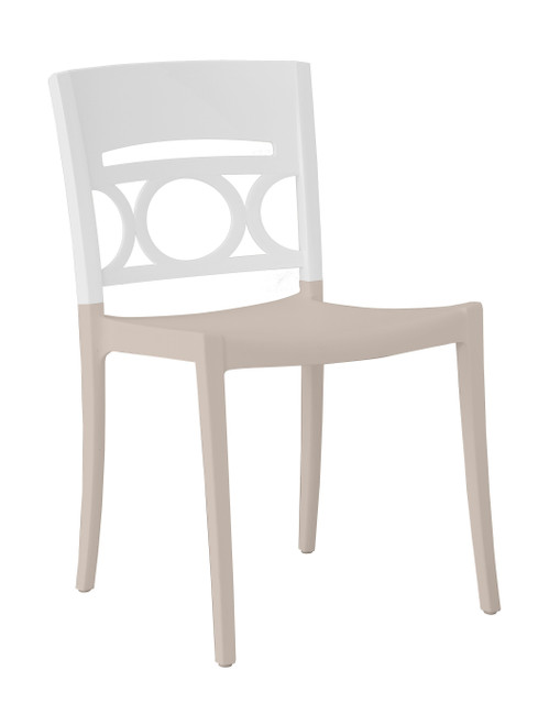 Grosfillex - Moon Glacier White/Linen Stacking Side Chair
