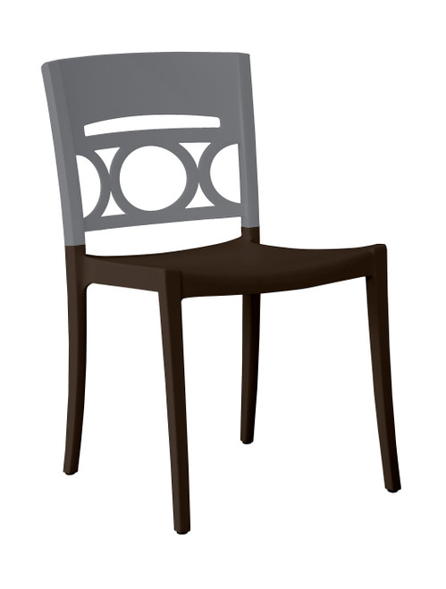 Grosfillex - Moon Titanium Gray/Charcoal Stacking Side Chair